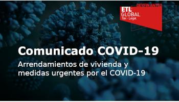 Arrendamientos de vivienda y medidas urgentes por el COVID-19